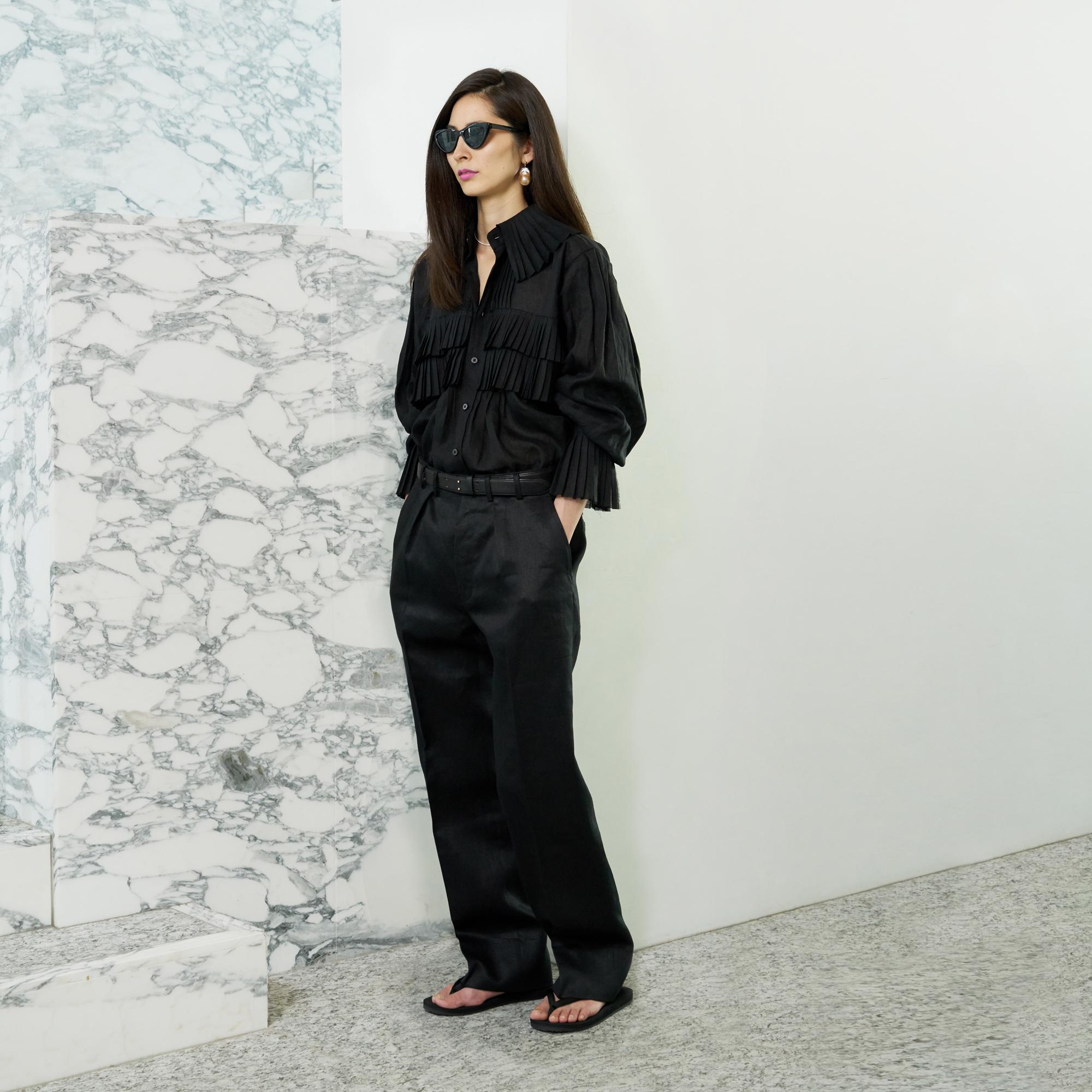 Linen Frill shirt・Linen pants