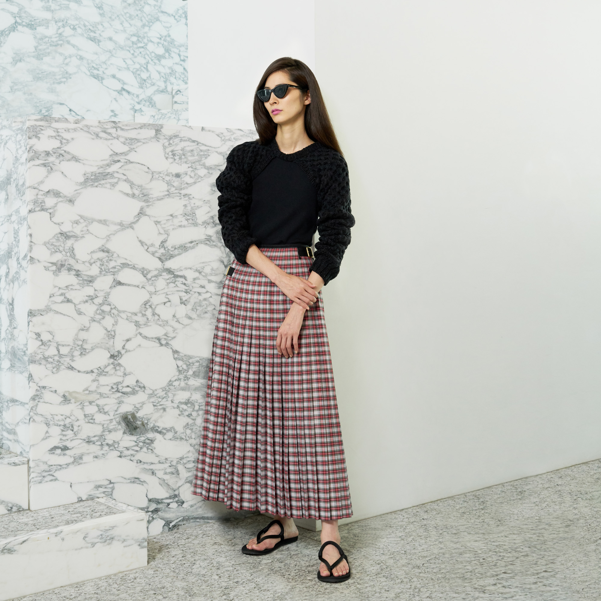 Hand Knit sleeve・Milan rib tank top・Checked maxi length skirt