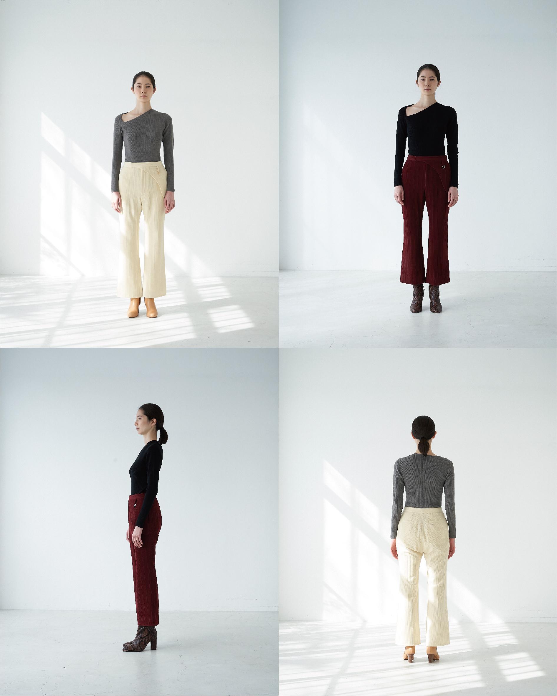 triangle neck wool rib po ・wool corduroy pants